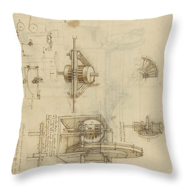 Crank Spinning Machine With Several Details Throw Pillow by Leonardo Da Vinci