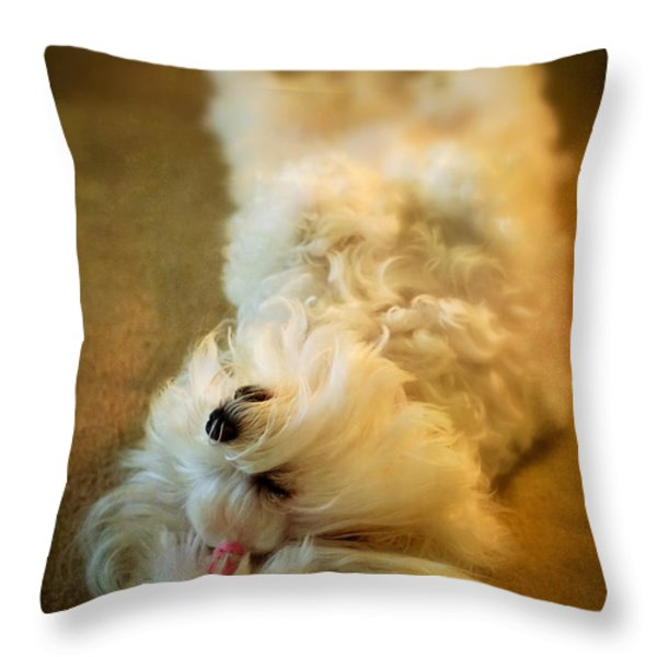Crash Landing Upside Down Throw Pillow by Lois Bryan