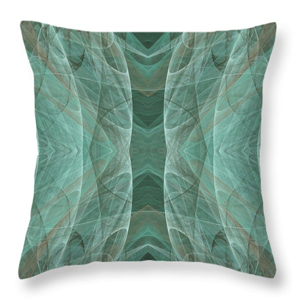 Crashing Waves Of Green 3 - Abstract - Fractal Art Throw Pillow by Andee Design