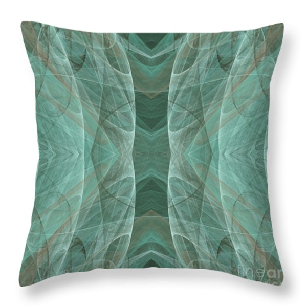 Crashing Waves Of Green 4 - Square - Abstract - Fractal Art Throw Pillow by Andee Design