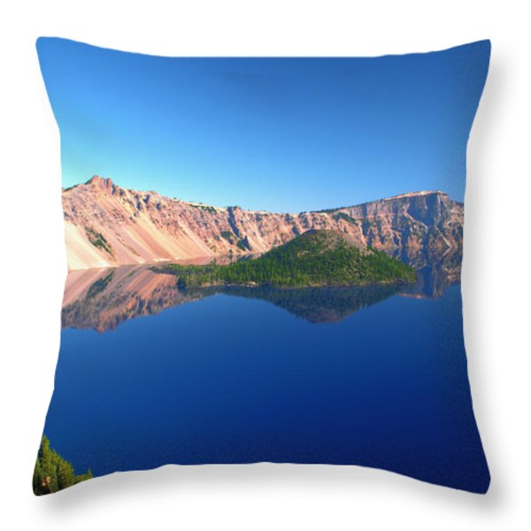 Crater Lake Throw Pillow by Brian Harig