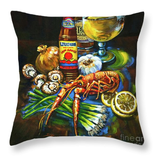 Crawfish Fixin's Throw Pillow by Dianne Parks