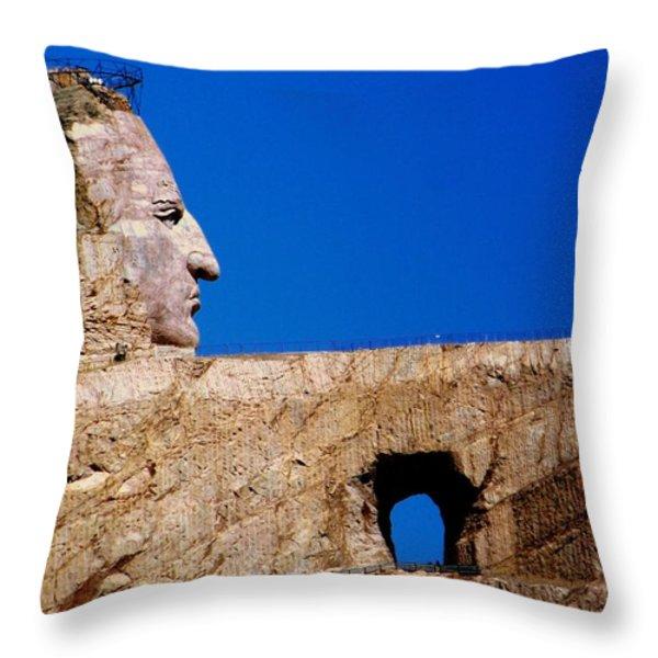Crazy Horse Throw Pillow by Karen Wiles