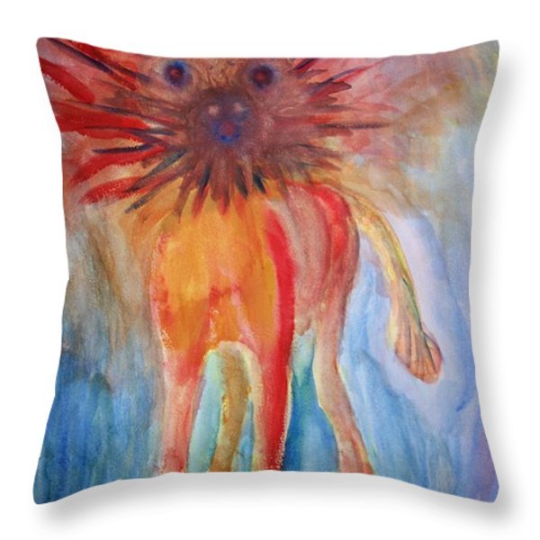 Crazy Troll Throw Pillow by Hilde Widerberg