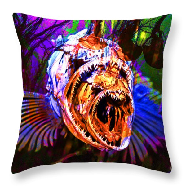 Creatures Of The Deep - Fear No Fish 5D24799 v2 Throw Pillow by Wingsdomain Art and Photography