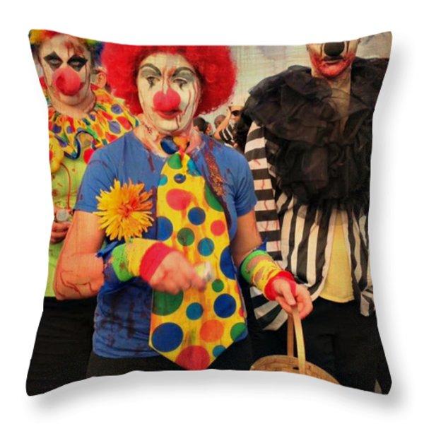 Creepy Clowns Throw Pillow by Lilliana Mendez