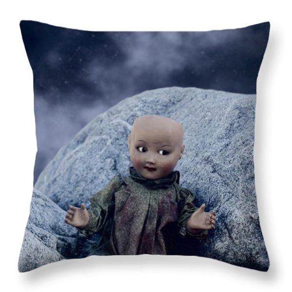 creepy doll Throw Pillow by Joana Kruse