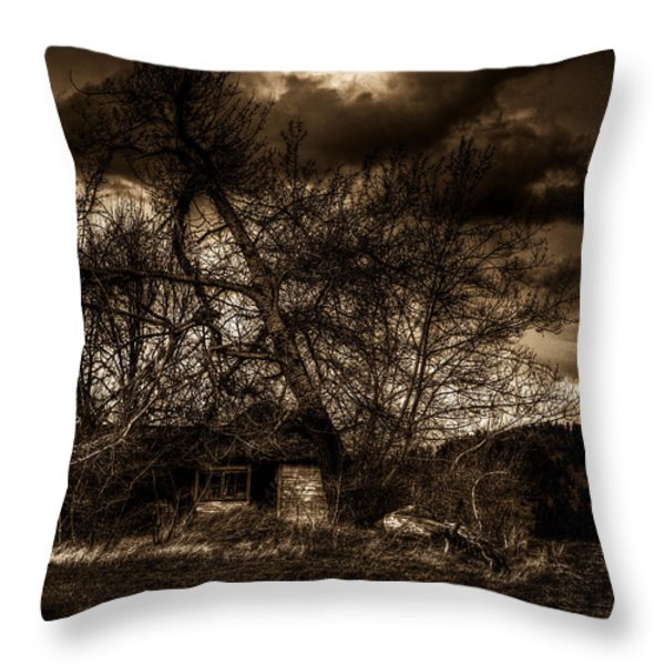 Creepy House One Throw Pillow by Derek Haller