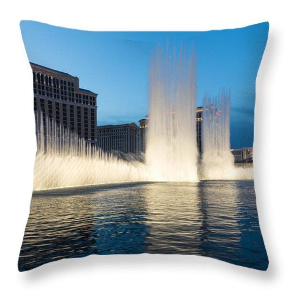 Crescendo - The Glorious Fountains At Bellagio Las Vegas Throw Pillow by Georgia Mizuleva