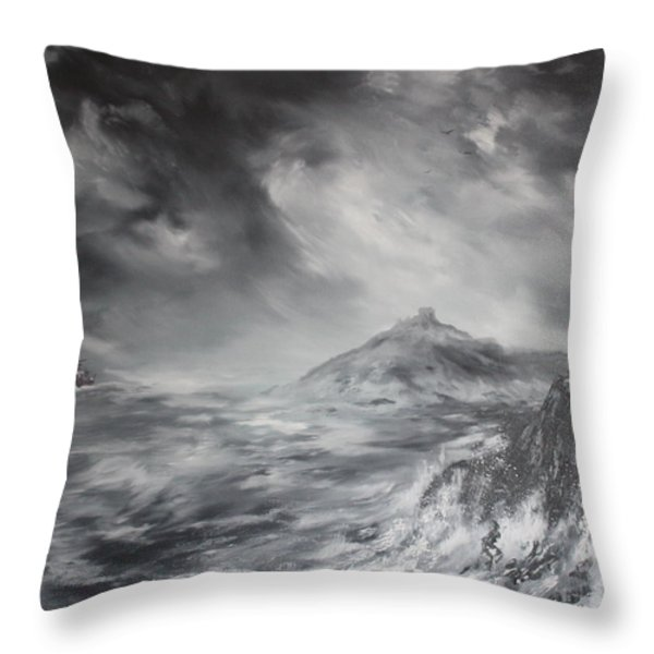 Criccieth Castle North Wales Throw Pillow by Jean Walker