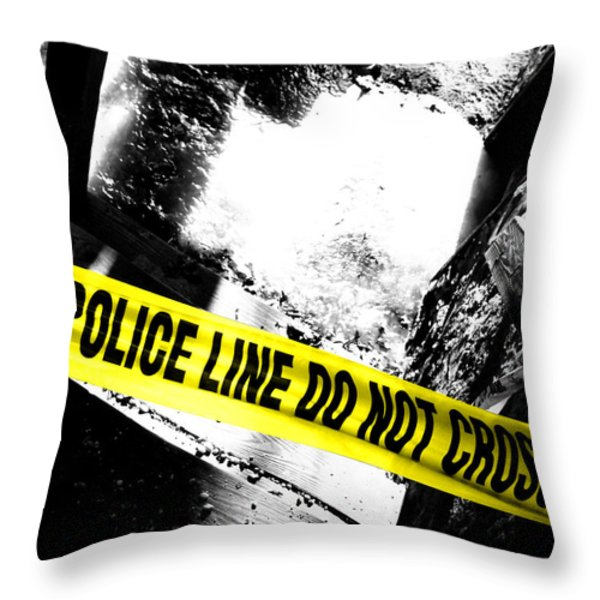 Crime Scene Throw Pillow by Olivier Le Queinec