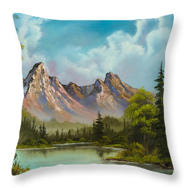 Crimson Mountains Throw Pillow by C Steele