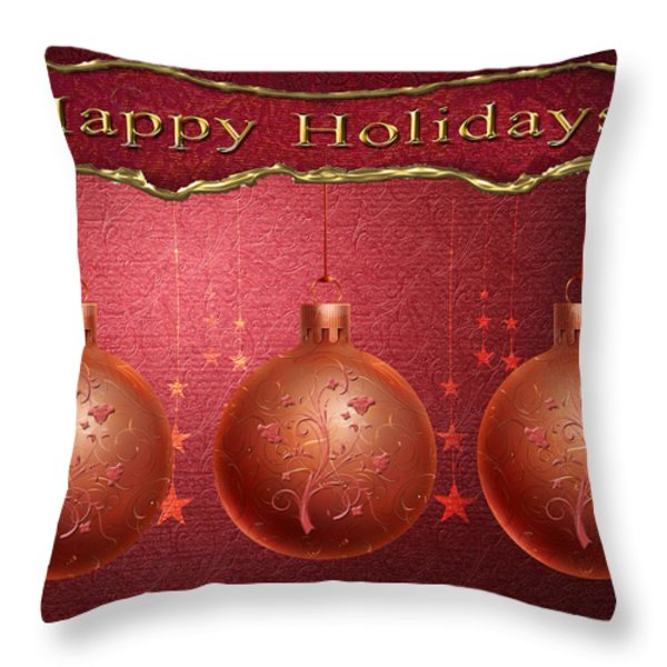 Crimson Ornaments Throw Pillow by Arline Wagner