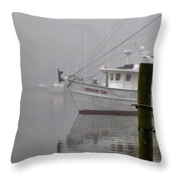 Crimson Tide In The Mist Throw Pillow by Michael Thomas