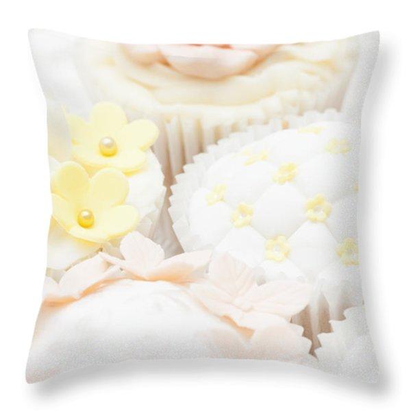 Criss-cross Cupcake Throw Pillow by Anne Gilbert