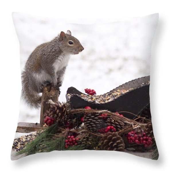 Critter Christmas Throw Pillow by Marty Maynard
