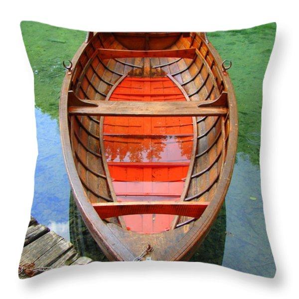 Croatian Rowboat Throw Pillow by Ramona Johnston