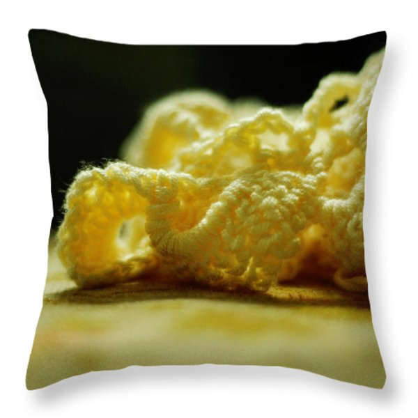 Crocheted Sunshine Throw Pillow by Rebecca Sherman