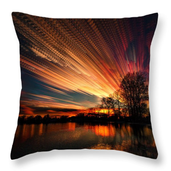 Crocheting The Clouds Throw Pillow by Matt Molloy
