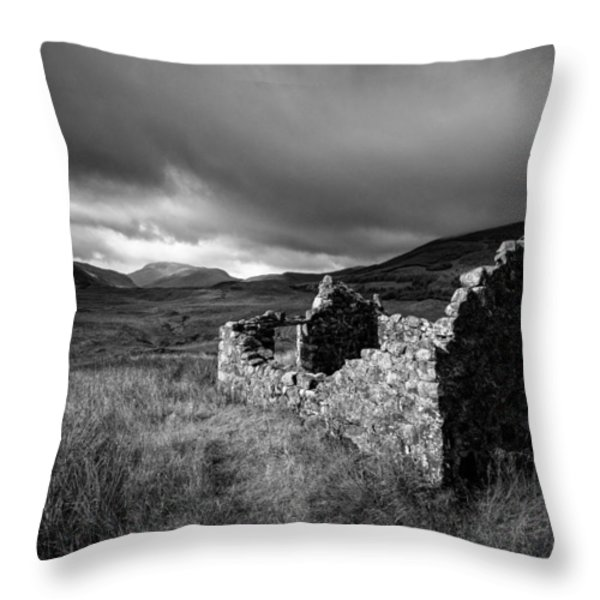 Crofters Cottage Ruin Throw Pillow by Dave Bowman
