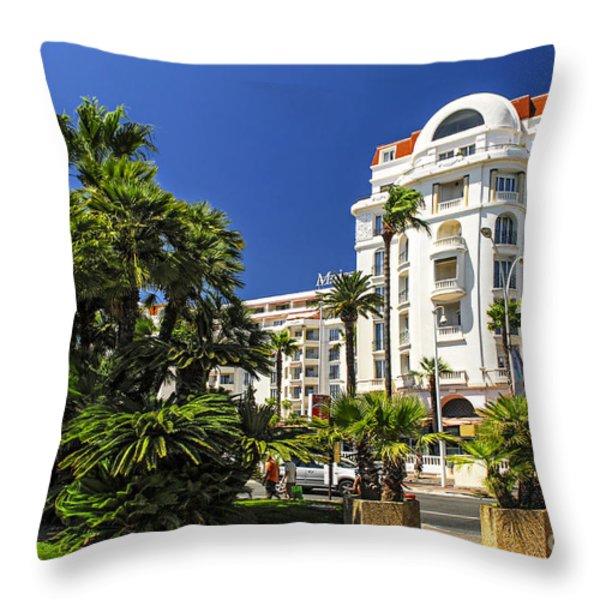 Croisette Promenade In Cannes Throw Pillow by Elena Elisseeva