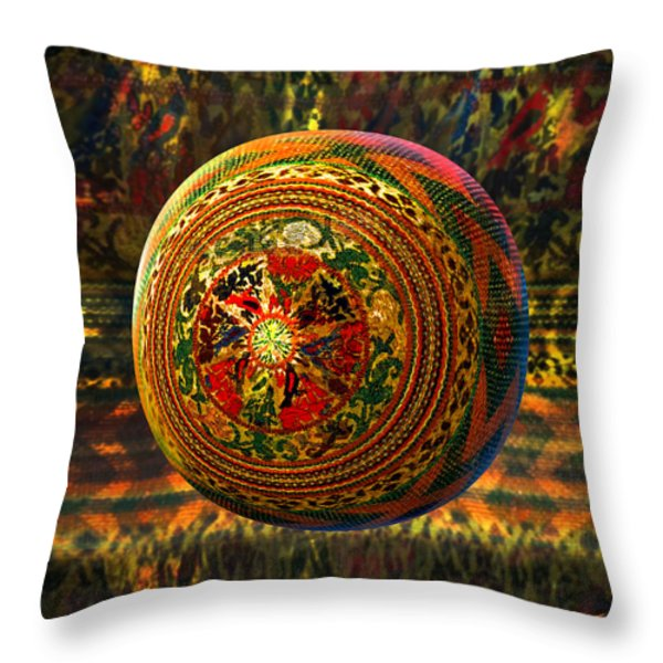 Croquet Crochet Ball Throw Pillow by Robin Moline
