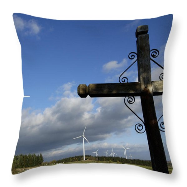 Cros and winturbine Throw Pillow by BERNARD JAUBERT