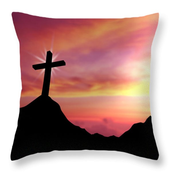 Cross Throw Pillow by Aged Pixel