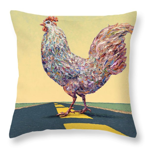 Crossing Chicken Throw Pillow by James W Johnson