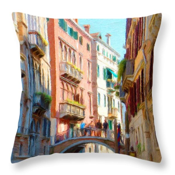 Crossing the Canal Throw Pillow by Jeff Kolker
