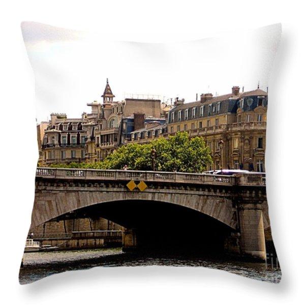 Crossing The Seine Throw Pillow by Lauren Hunter