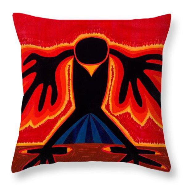 Crow Rising original painting Throw Pillow by Sol Luckman