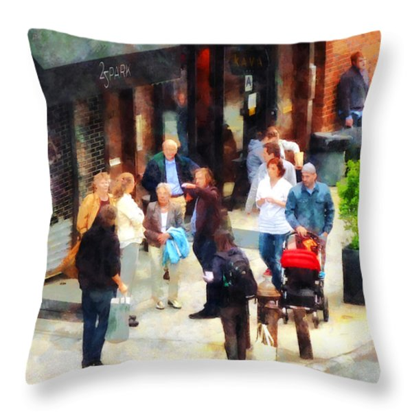 Crowded Sidewalk In New York Throw Pillow by Susan Savad