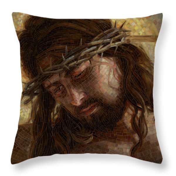 Crown of Thorns Glass Mosaic Throw Pillow by Mia Tavonatti