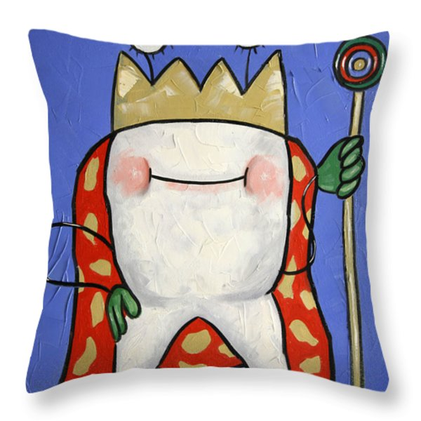 Crowned Tooth Throw Pillow by Anthony Falbo