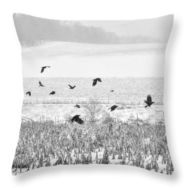 Crows In Cornfield Winter Throw Pillow by Dan Friend