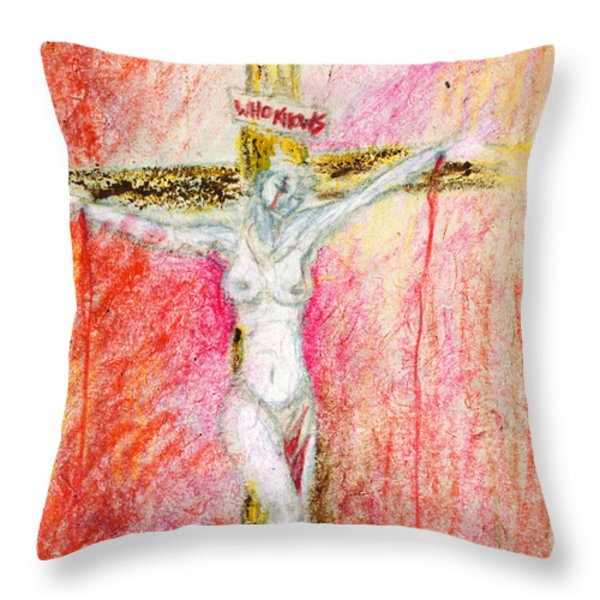 Crucified  Throw Pillow by Kd Neeley