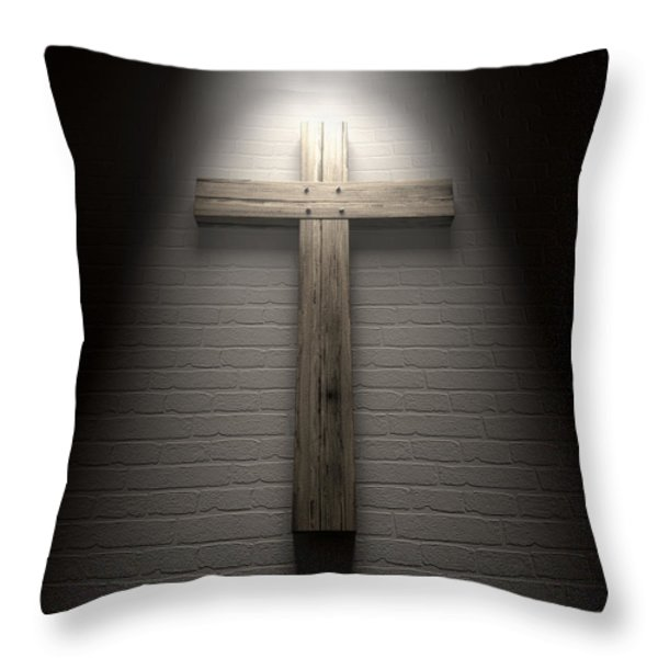 Crucifix On A Wall Under Spotlight Throw Pillow by Allan Swart
