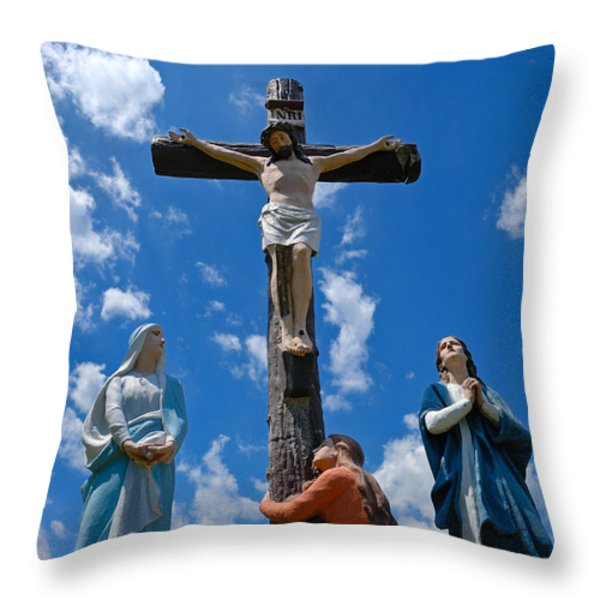 Cruficix Statue At Saint Alphonsus Church Wexford Throw Pillow by Amy Cicconi