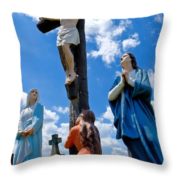 Cruficix Statue At St Alphonsus Church Wexford Throw Pillow by Amy Cicconi