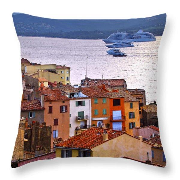 Cruise Ships At St.tropez Throw Pillow by Elena Elisseeva