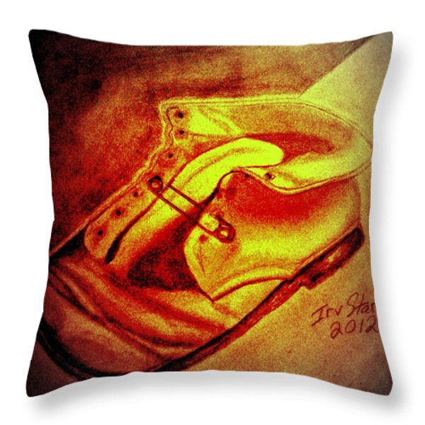 Crushed Baby Shoe Throw Pillow by Irving Starr
