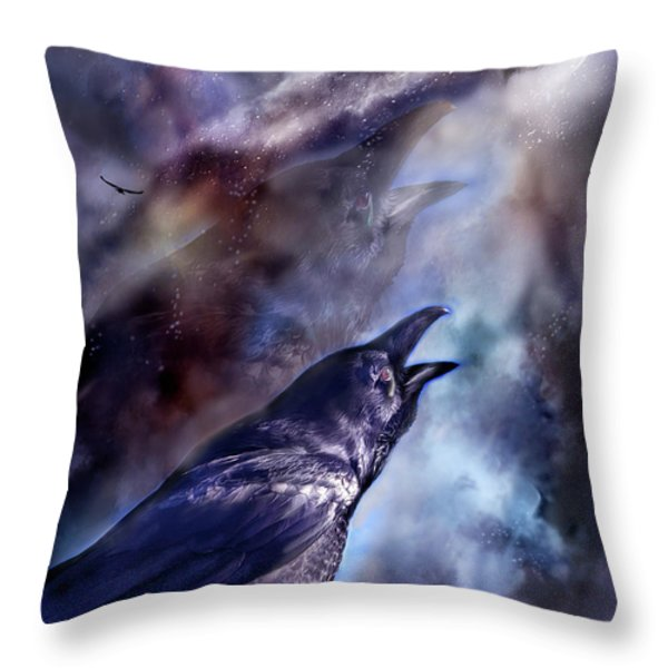 Cry Of The Raven Throw Pillow by Carol Cavalaris