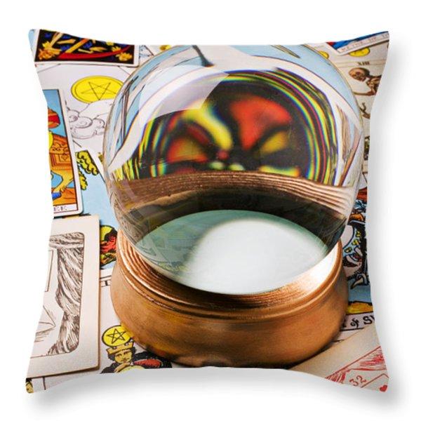 Crystal ball and tarot cards Throw Pillow by Garry Gay