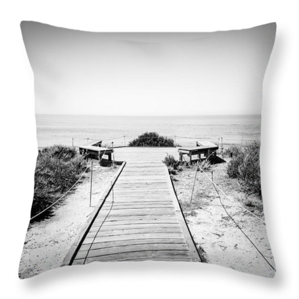 Crystal Cove Overlook Black And White Picture Throw Pillow by Paul Velgos