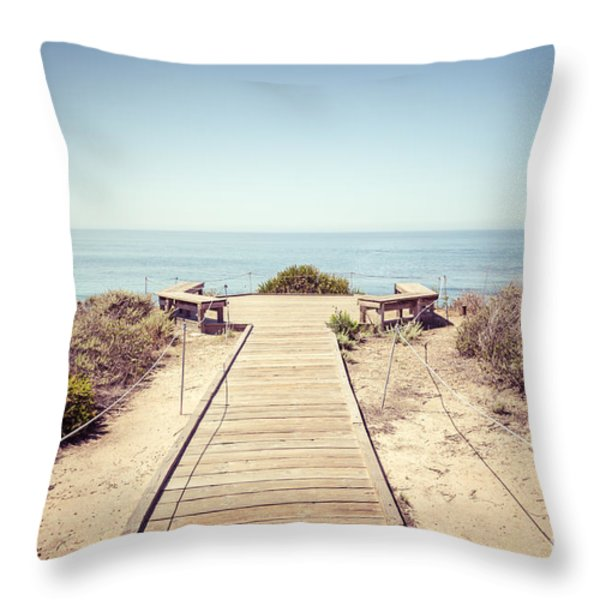 Crystal Cove Overlook Retro Picture Throw Pillow by Paul Velgos