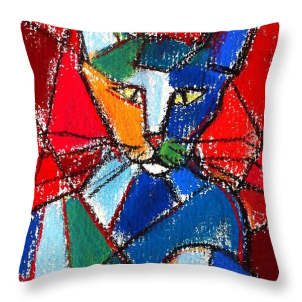 Cubist Colorful Cat Throw Pillow by Mona Edulesco