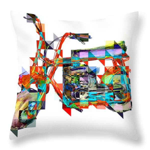 Cubist Mini Bike Throw Pillow by Russell Pierce