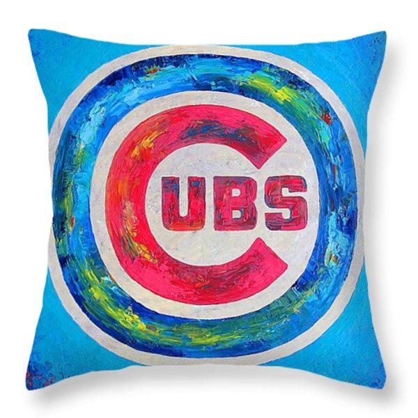 Chicago Cubs Baseball Throw Pillow by Dan Haraga