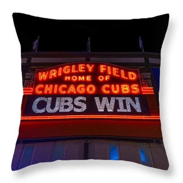 Cubs Win Throw Pillow by Steve Gadomski